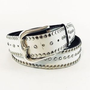 Jose Luis Studded White Leather Belt